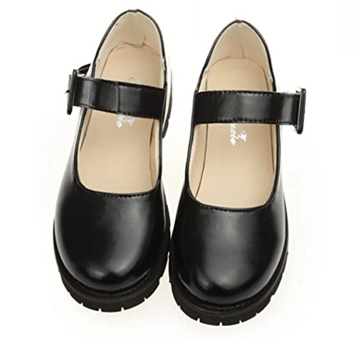 School Girl Shoes (Women Oxford Shoe, Ladies School Uniform Dress Shoes Black Red Cosplay (7.5, Black))