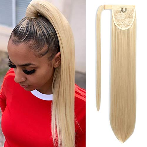 SEIKEA Wrap Around Ponytail Extension Long Straight Hair Clip in Pony Tail 28 Inch - Creamy Blonde