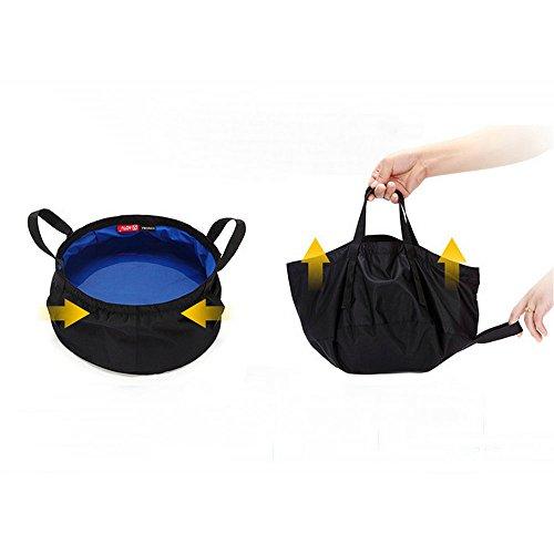 TATEELY 8.5L Outdoor Travel Folding Camping Washbasin Ultra-light Portable Basin Bucket Bowl Sink Washing Bag Hiking Water Bucket (blue) by TATEELY (Image #2)