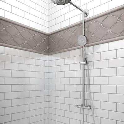 Common: 1-1//5-in x 6-in; Actual: 5.9-in x 1.18-in 12-Pack Charcoal Half Round Ceramic Wall Tile