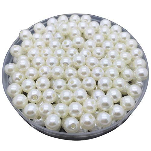 LKXHarleya 200pcs 4mm (Ivory) Imitation Glass Pearls Round Beads Acrylic Loose Beads for DIY Jewelry Making Necklace Bracelet Earrings