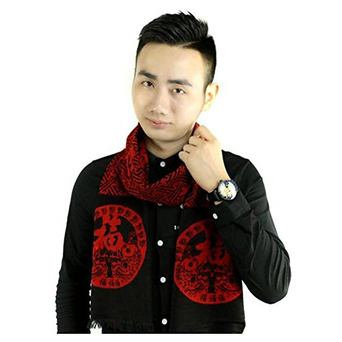 GERGER BO Mother's Day Classic Festive Lock Luck Red Black Scarf (Bo Peep Wig)