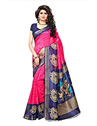 Shonaya Womens Party Wear Pink & Blue Colour Bhagalpuri Silk Printed Saree