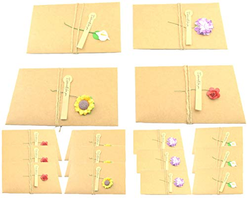 Maydahui Greeting Card Vintage Kraft Dried Flower Handmade Thank You notes with Hemp Rope,Envelope Used as Party Invitation Wish Card (Pack of 16,Large - 6.7