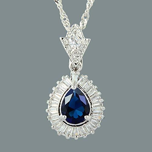 (FidgetKute 18K White Gold Plated Blue Sapphire Gem Stone Slide Pendant Necklace Curb Chain)