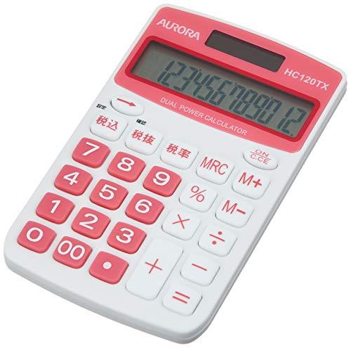 United Color Systems HC120TX-R Aurora Japan - Calculadora (12 dígitos, función de cálculo de impuestos), Color Rojo