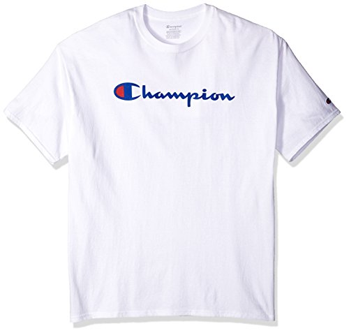 Champion Men's Classic Jersey Script T-Shirt, White Script, L from Champion