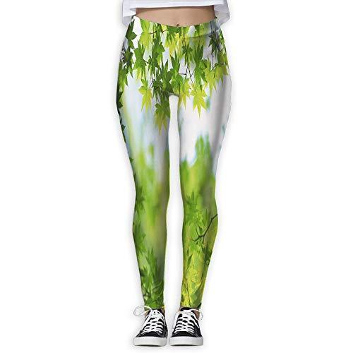 - HU MOVR Womens Yoga Pants Green Leaves Slim Fit Leggings Workout Pant