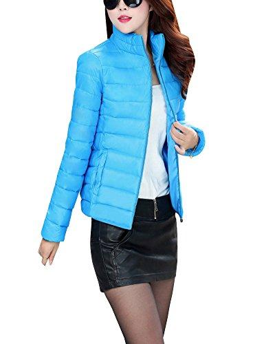 Colletto Alla Giacche Calda Ligtweight Il Coreana Spessore Cappotti Invernali Womens Blu Basso Verso Dianshao qCwxAYtn