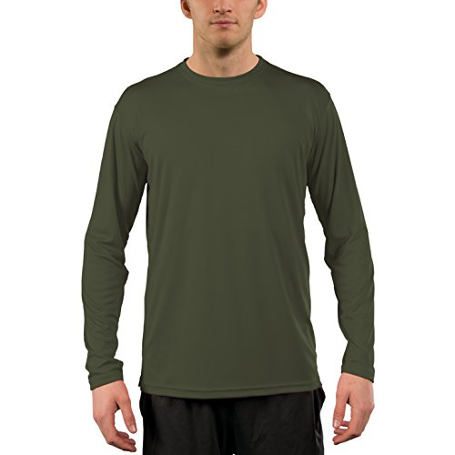 Vapor Apparel Men's UPF 50+ Sun Protection Performance Long Sleeve T-Shirt X-Large Hunter Green (Green Apparel Fresh)