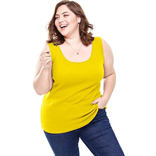 Woman Within Women's Plus Size Rib Knit Tank - Bright Daffodil, 4X