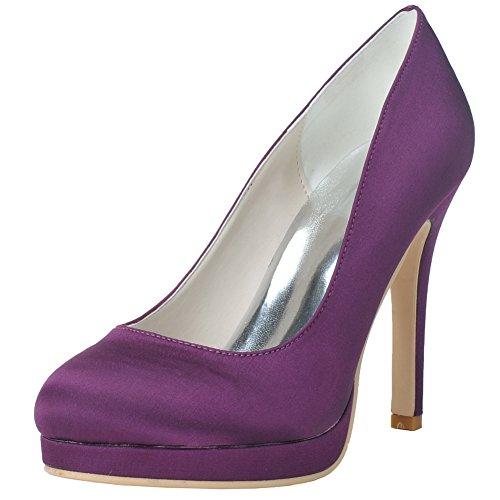 Wedding Round Toe Shoes Women's Pumps High LOSLANDIFEN Purple Stiletto Satin Heels Bridal Court t5nCqUUS