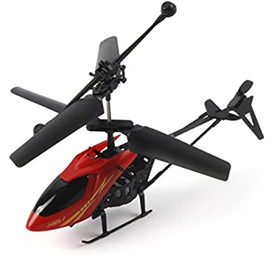 Anxinke RC 901 2CH [8 Minutes Flying Duration Time] Mini RC Helicopter Remote Control Aircraft Airplane with Colorful Illumination Lamps (RED)