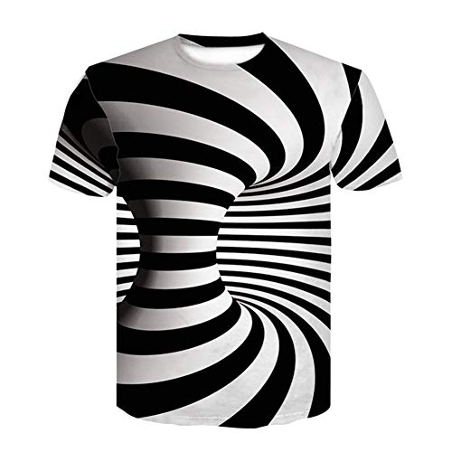 32gagwwc Plus Size Summer Men Vertigo Hypnotic 3D Print Short Sleeve O-Neck T-Shirt Top Casual Shirt 3 L