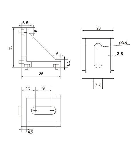 16er Set L-Form Eckverbinder Aluminium f/ür 30x30 Aluminium-Konstruktionsprofile