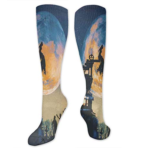 Compression Socks,Dead Queen In Castle Zombies In Cemetery Love Affair Bridal Halloween Theme
