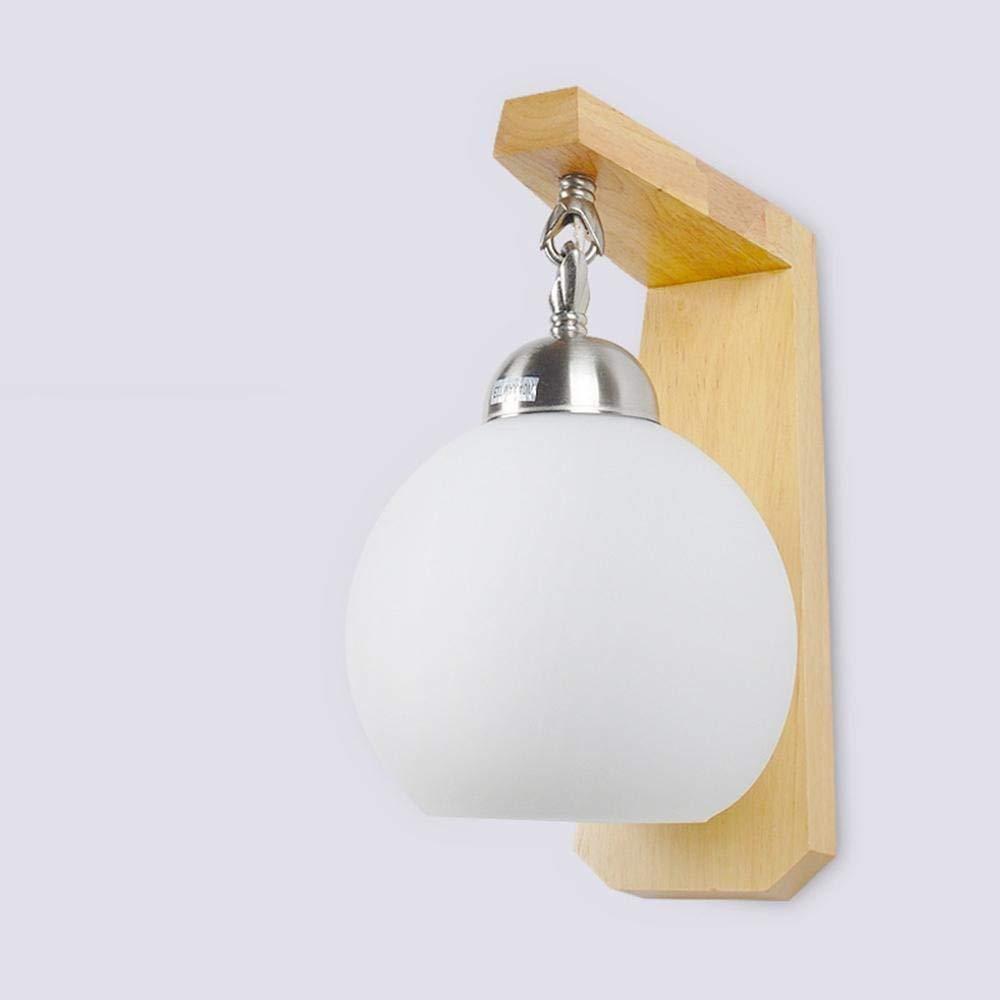 Wall Light Home Wandleuchte rund Holz Farbe kreativ einfachen Stil Innenfeuer die Schlafzimmer Dekoration Feuer 15 x 20 x 25 cm E 27+ [Energieeffizienz hat