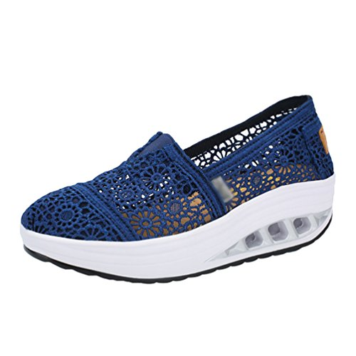LINNUO Women Platform Sneakers Trainers Fitness Running Hollow Out Floral Shoes Lace Wedge Heel Loafers Driving Walking Shoes Dark Blue U6FTALO