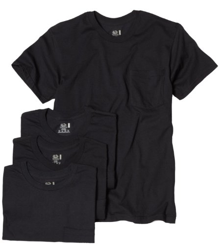 Fruit of the Loom Men's Pocket Crew Neck T-Shirt - Medium - Black (Pack of 4)
