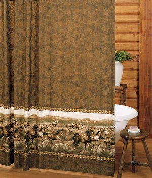 Wild Horses Shower Curtain And Matching Window Valance Drape Set 1