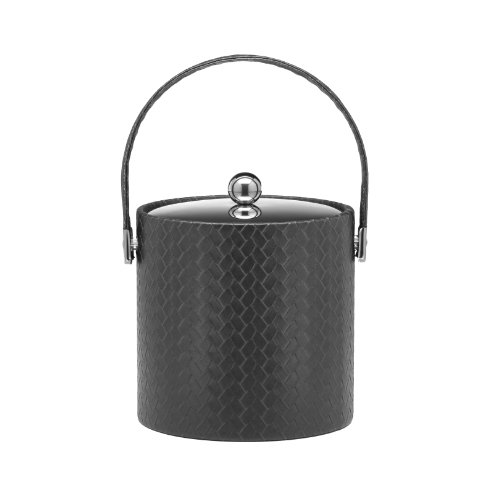 Kraftware Ice Bucket with Bale Handle and Metal Cover, Black - 3 Quart Metal 3 Qt Ice Bucket