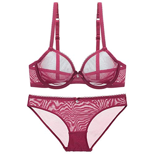 Women See-Through Lace Push Up Transparent Underwire Everyday Bra(Red-US Size 32B = Tag 34B)
