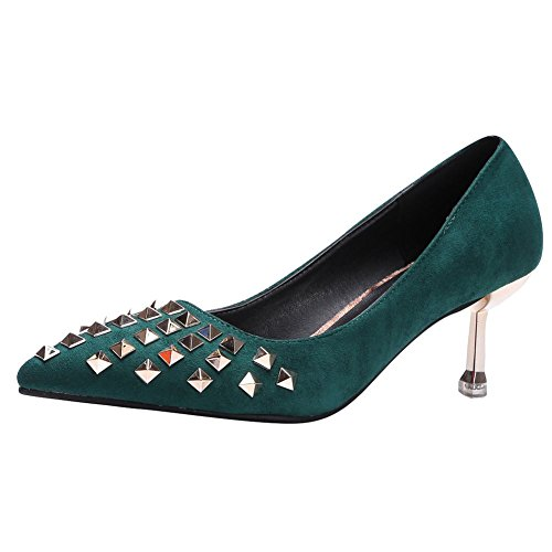 Charm Foot Womens Fashion Rivets Pointed Toe Mid Heel Pump Shoes Green