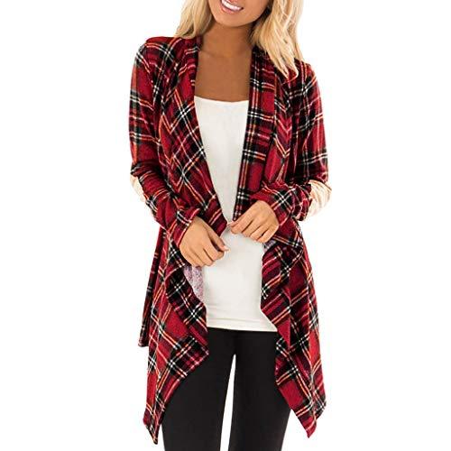 Creazrise Womens Asymmetric Hem Lapel Open Front Plaid Long Sleeve Cardigan Coat (Red,XL)