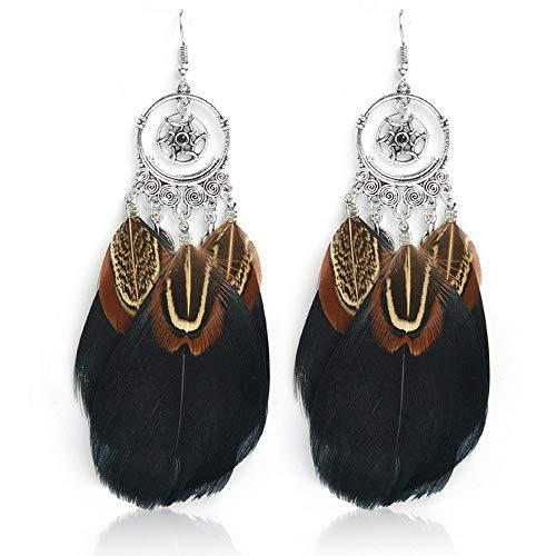(Feather Dream Catcher Earrings: Statement Dangle Boho Hippie Earring Set (Black Feather))