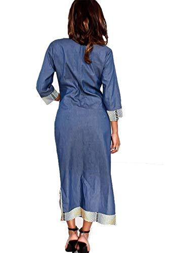 Grande Cocktail Mujer tamaño Vestidos con Azul 3 Manga Bolsillos para de Bodycon Aberturas Color Prom Mezclilla Haokan Party 4 Laterales CHxFqfnw