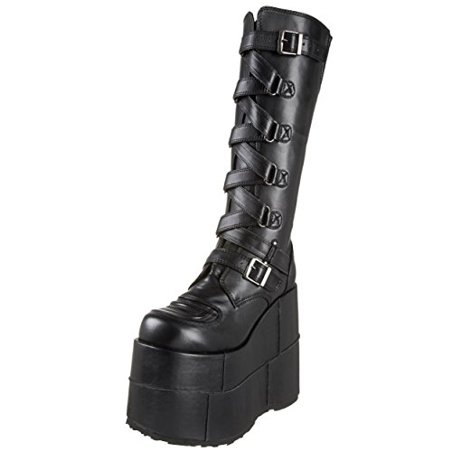 Strap Platform Boots (7 Inch MENS Black Knee High Boots Platform Shoe Zip-Zag Strap Black Size: 8 Colors: BlackPU)
