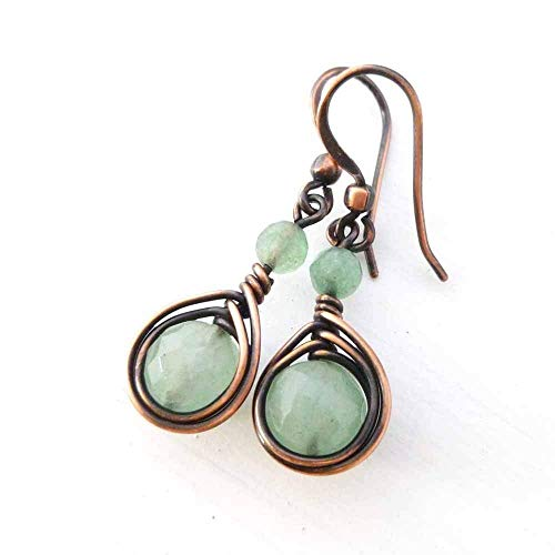Earrings with Green Aventurine gemstone ()