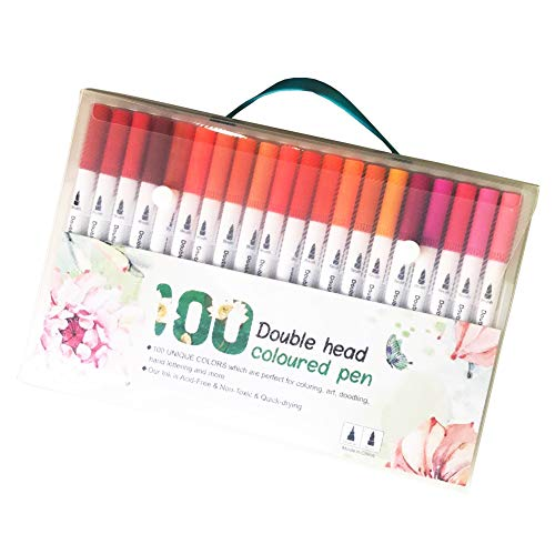 TSML Dual Tip Watercolor Marker Brush Pens, 100 Colors Double tip Pens, 0.4mm Fine Fineliner pens for Beginners, Coloring, Sketching, Calligraphy, Manga, Drawing, Bullet Journal and More (100 Colors)