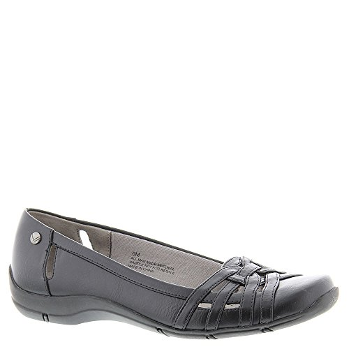 LifeStride Women's Diverse Flat, Black, 7.5 W US (Best Walking Shoes For Bunions And Flat Feet)