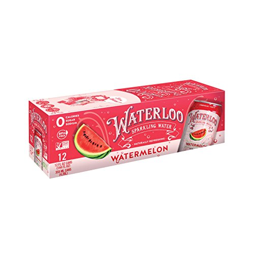 Waterloo Sparkling Water Watermelon Fruit Flavor Zero Calorie No Sugar 12oz Cans (Pack of - Waterloo Stores