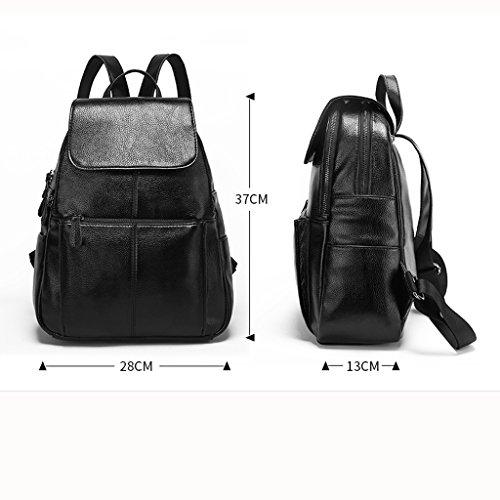 Zaino l W Vertical × leggero a Soft Ladies School Nero capacità Diagonal Leather 13 grande 28 Travel H Quadrato Pure Mclb Sports 37cm Multilayer 10wqnxTFF