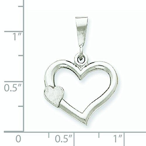 Or blanc 14carats massif satiné poli Pendentif Coeur-Fancy dimensions 19,2x 27.9mm