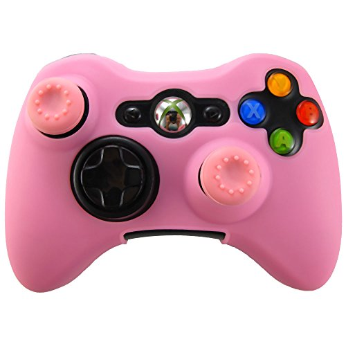 Pandaren Soft Silicone Skin for Xbox 360 Controller Set(Pink Skin X 1 + Thumb Grip X 2)