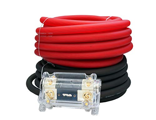 MK Audio KIT025RB 0 Gauge Red/Black Amplifier Amp Power/Ground 1/0 Wire Set 50 Feet Superflex Cable 25 Each, ANL Fuse Holder by MK Audio