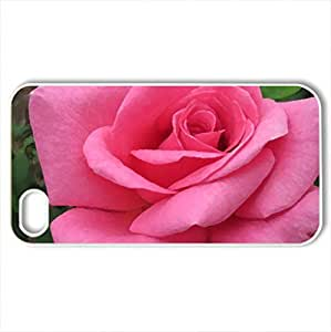 Bold Pink Rose - Case Cover for iPhone 4 and 4s (Flowers Series, Watercolor style, White) by icecream design