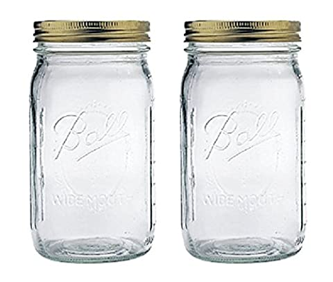 Ball Quart Jar with Copper Lid, Wide Mouth, Set of 2