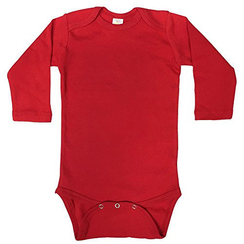 Red Infant Onesie - The Laughing Giraffe Unisex Infant Blank Cotton Long Sleeve Baby Bodysuit Onesie (0-3M, Red)