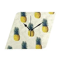 Ladninag Wall Clock Pineapple Pattern Silent Non Ticking Decorative Diamond Digital Clocks Indoor Outdoor Kitchen Bedroom Living Room