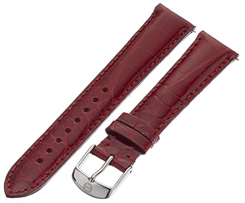 MICHELE MS18AA010611 18mm Leather Alligator Red Watch Strap by MICHELE
