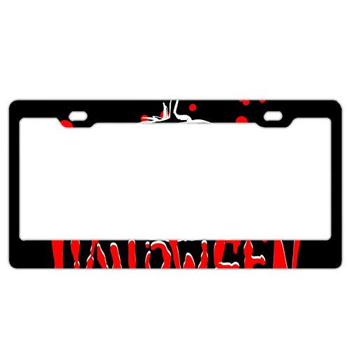 KSLIDS Halloween Party Custom License Plate Frame Stainless Steel Frame with 4 holes-12 x6 -
