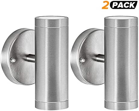 Waterproof Silver Wall Sconce Cylinder Up Down Modern LED Lamp, 120V 3000K Warm White Stainless Steel LED Mini Lighting Fixture Wall Mounted for Indoor Outdoor Patio Porch Bedroom, 2 Pack ETL Listed