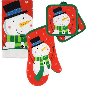 Christmas House Snowman Kitchen Linens Collection 4 Pieces