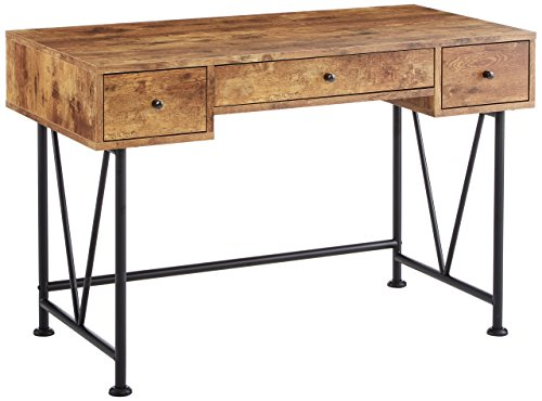 Glavan 3-Drawer Writing Desk with Antique Nutmeg and Black (Desk Antique Top Roll Oak)
