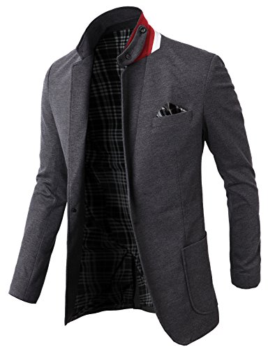 (H2H Mens Fashion Slim Fit Blazer Jacket With Snap Collar GRAY US XL Plus/(KMOBL01))