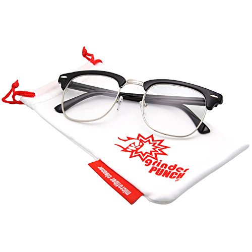 grinderPUNCH 80's -'Club' - Half frame Clear Lens Wayfarer - - Colonel Sanders Glasses